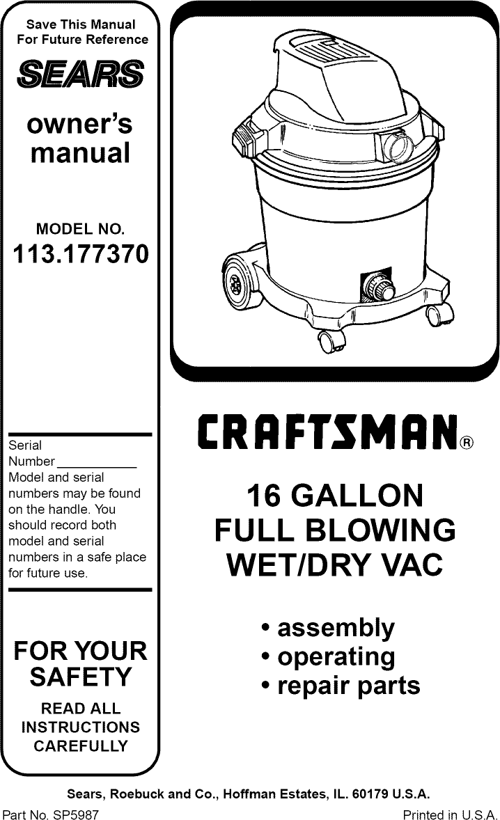 Craftsman 113177370 User Manual 16 GALLON WET/DRY VAC