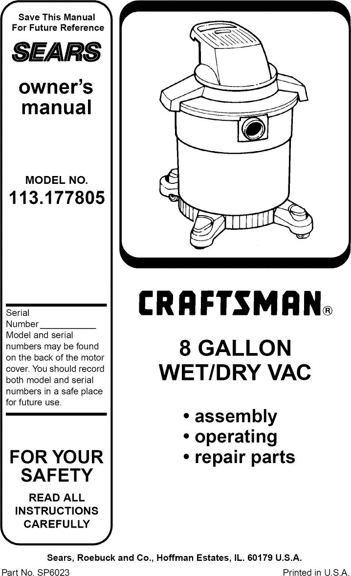 Craftsman 113177805 User Manual 8 GALLON WET/DRY VAC
