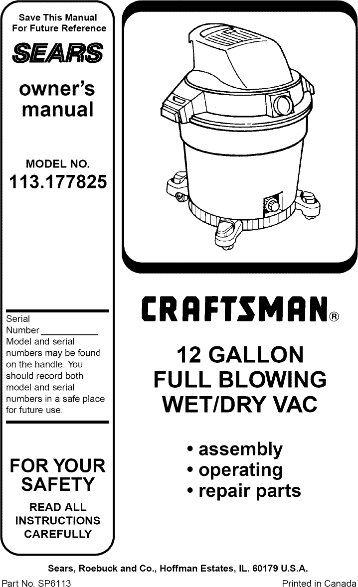 Craftsman 113177825 User Manual 12 GAL FULL BLOWING WET