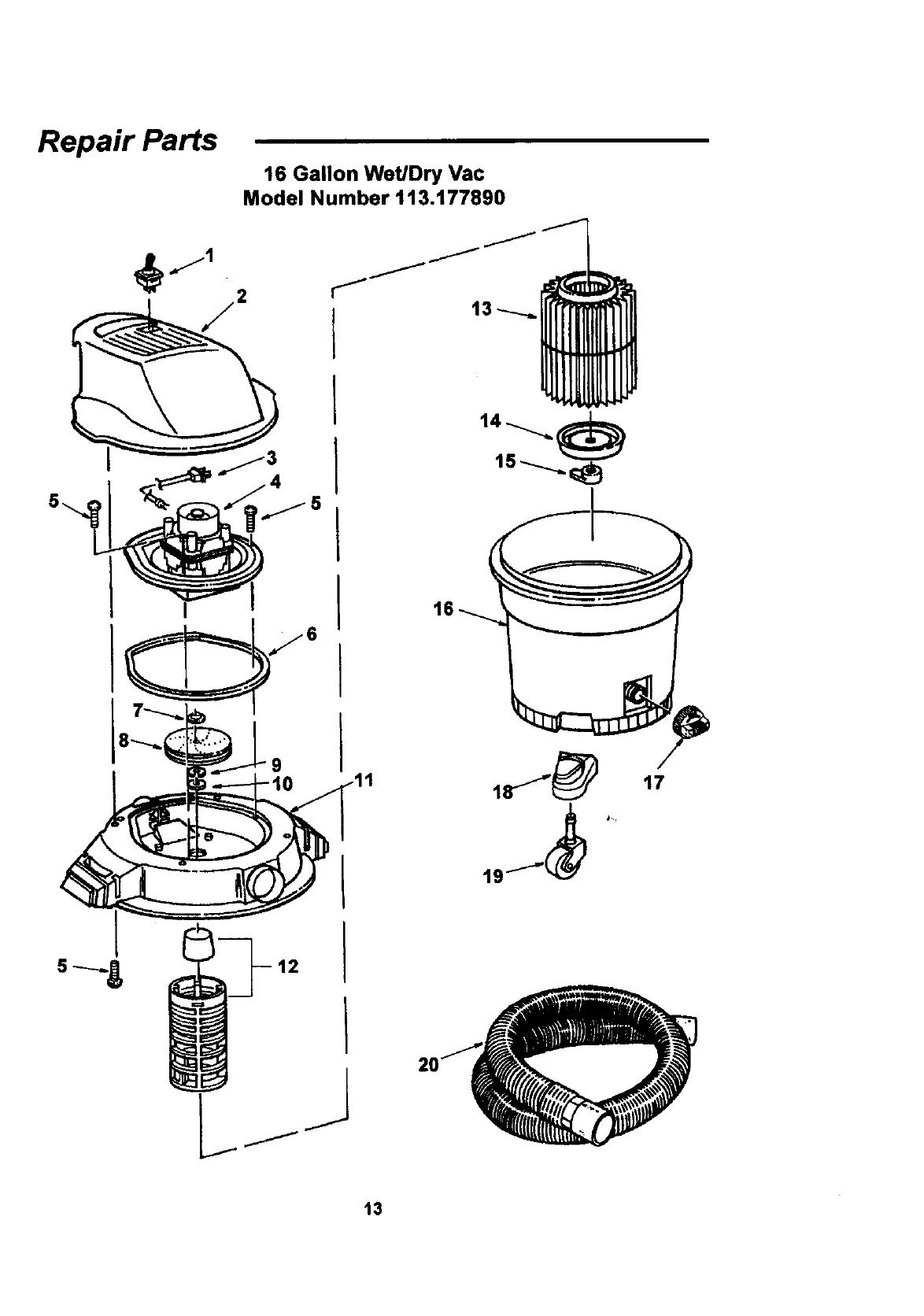 Craftsman 113177890 User Manual 16 GALLON FULL BLOWING WET