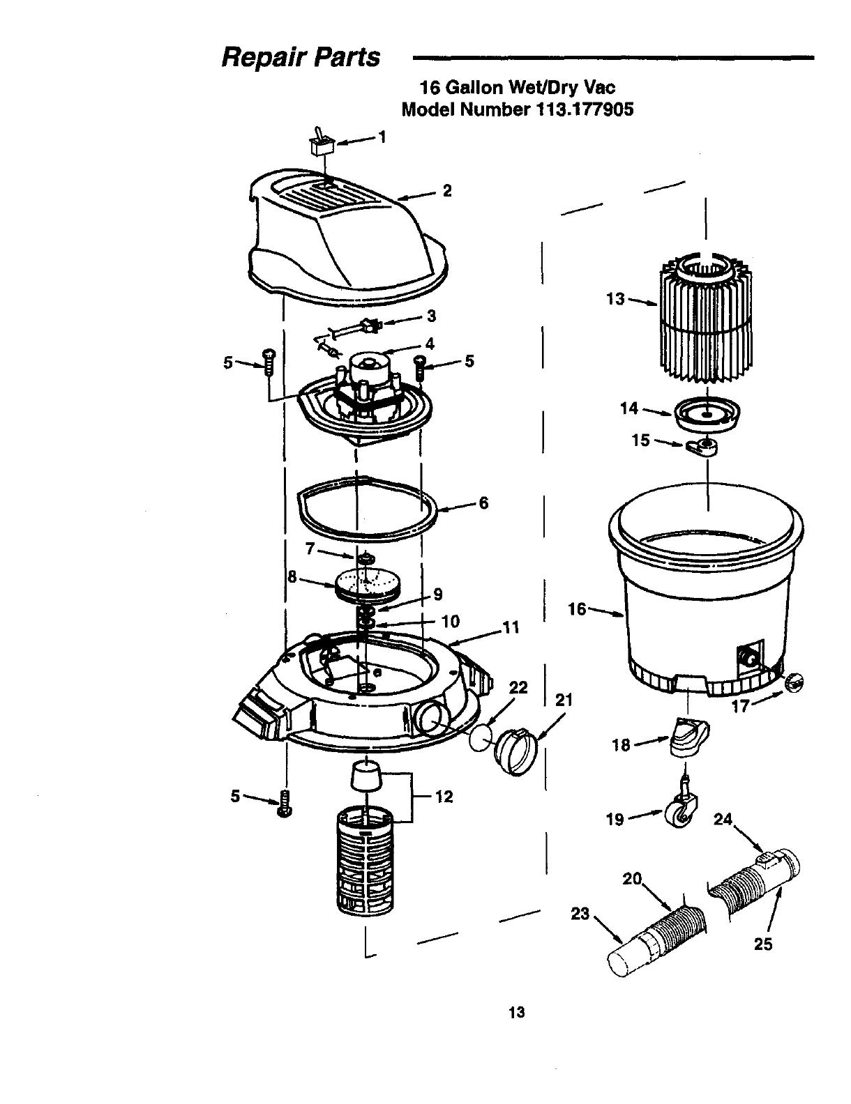 Craftsman 113177905 User Manual WET/DRY VAC Manuals And