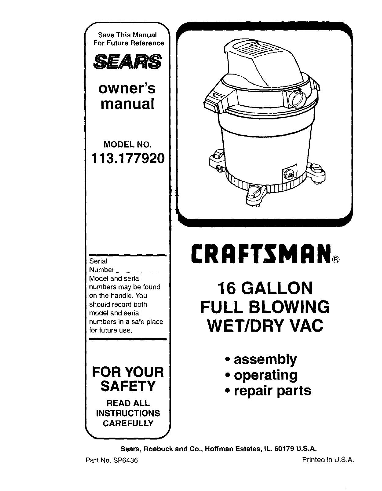 Craftsman 113177920 User Manual 16 WET/DRY VAC Manuals And