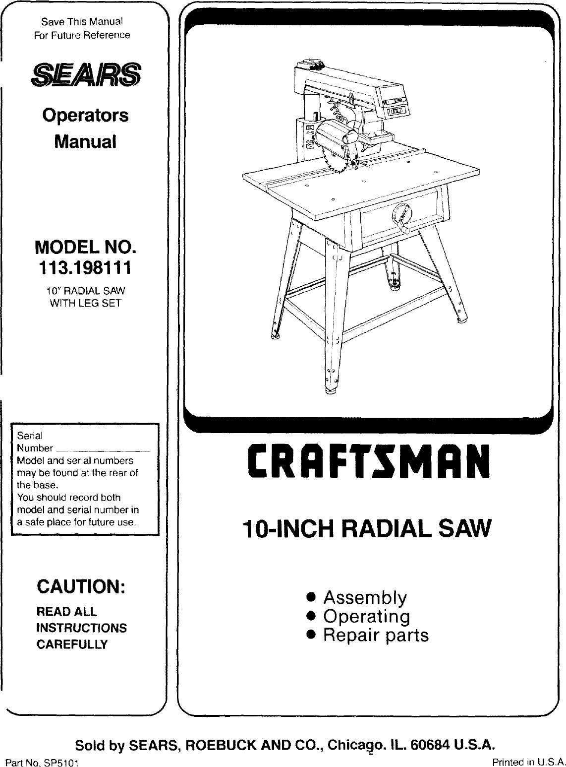 Craftsman 113198111 User Manual 10 INCH RADIAL SAW Manuals