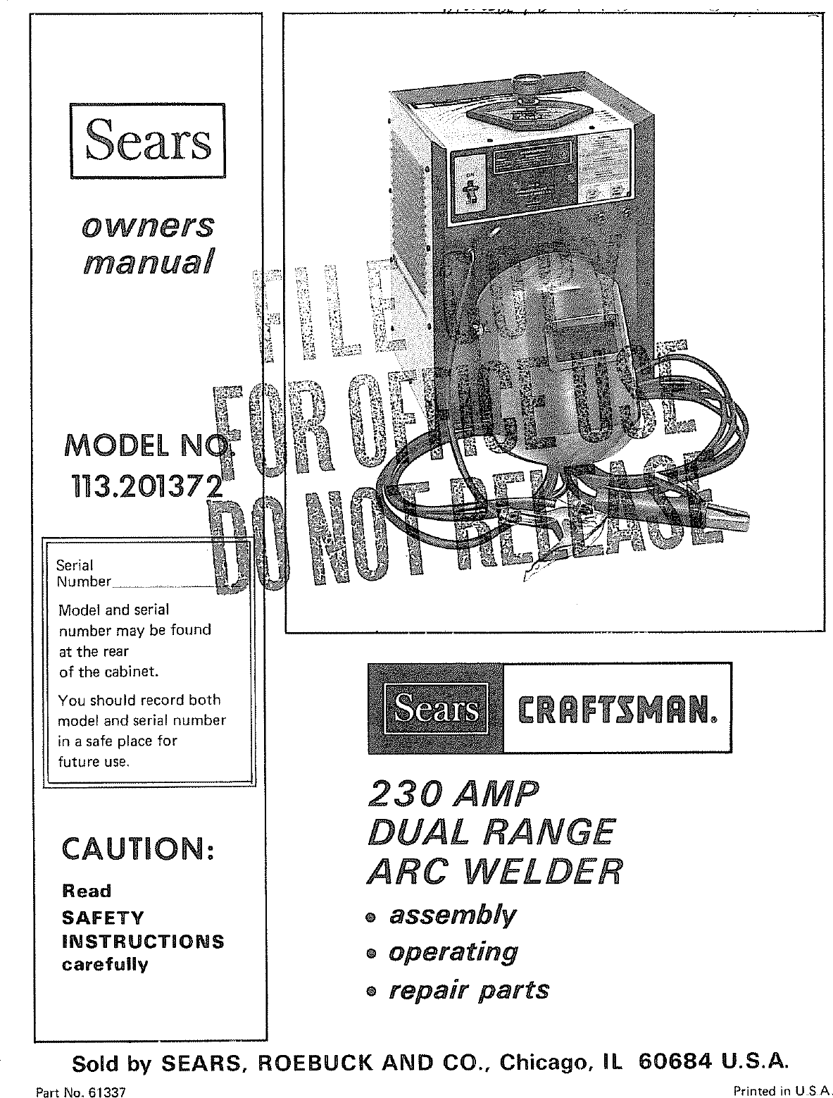 Craftsman 113201372 User Manual 230 AMP WELDER Manuals And