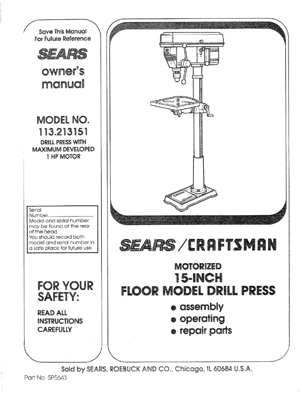medium resolution of craftsman 113213151 user manual 15 floor drill press manuals and guides l0804024