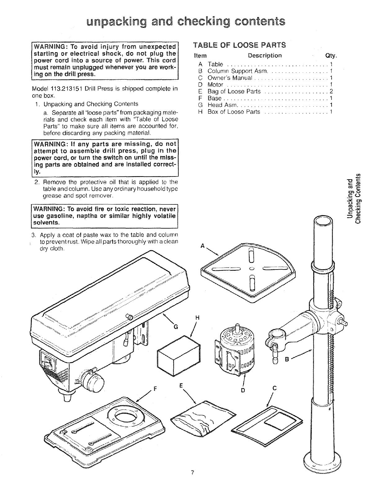 Craftsman 113213151 User Manual 15 FLOOR DRILL PRESS