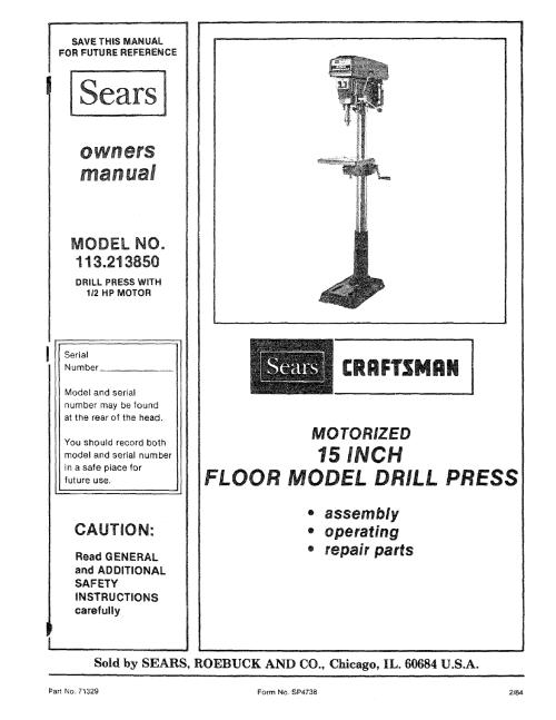 small resolution of craftsman 113213850 user manual 15 inch drill press manuals and drill press wiring diagram