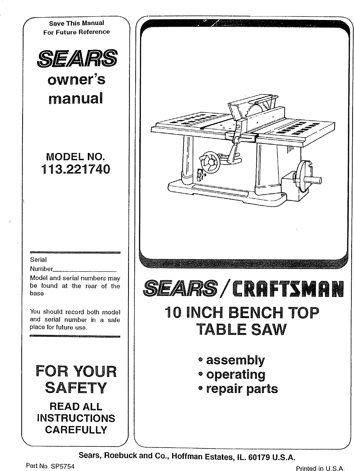 Craftsman 113221740 User Manual 10 BENCH TOP TABLE SAW