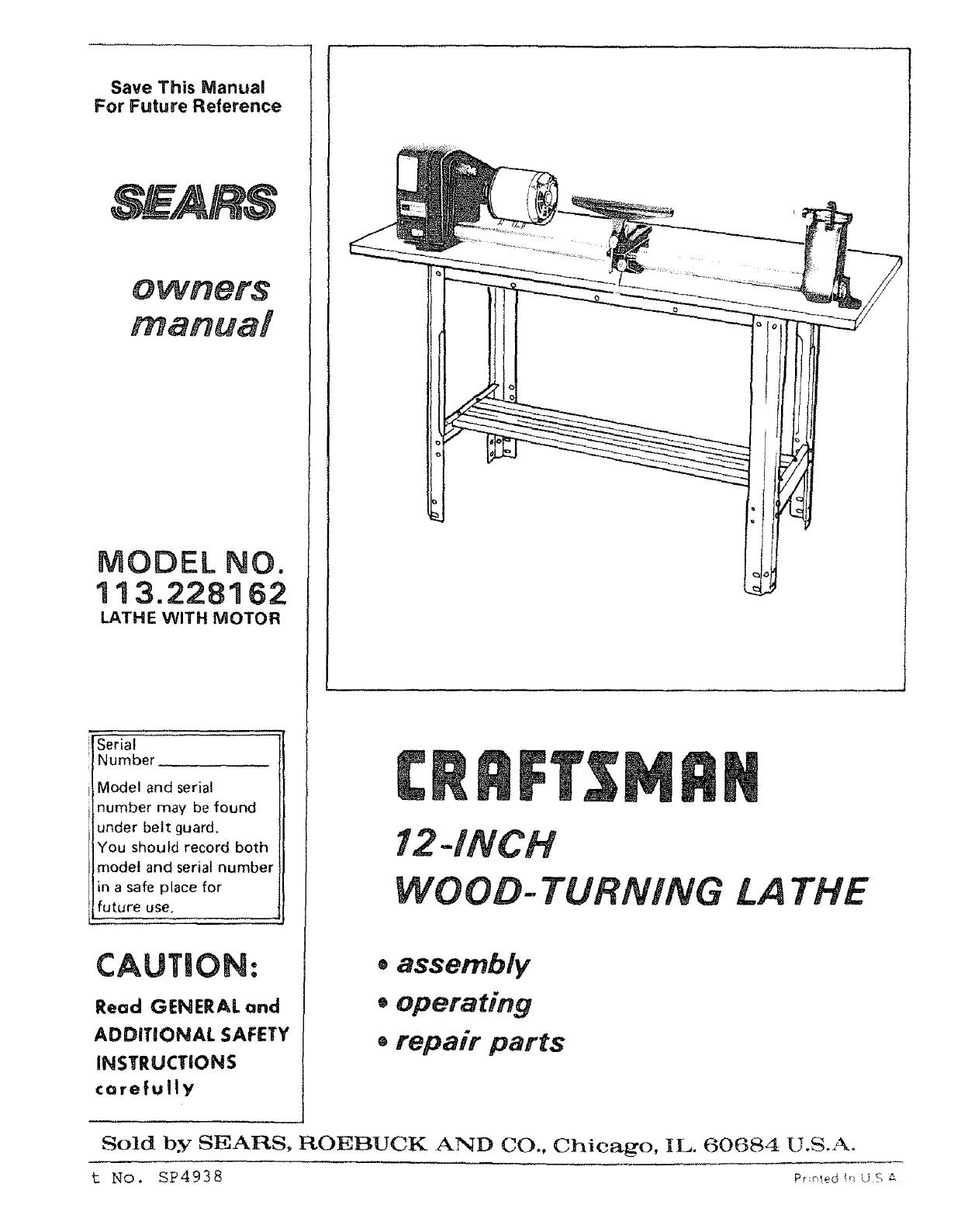 hight resolution of craftsman 113228162 user manual wood lathe manuals and guides l0803531 craftsman lathe wiring diagram