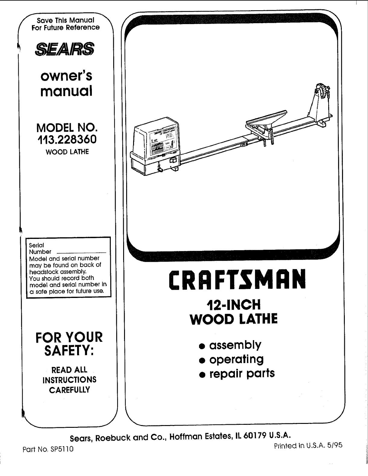 Craftsman 12 Lathe Specs