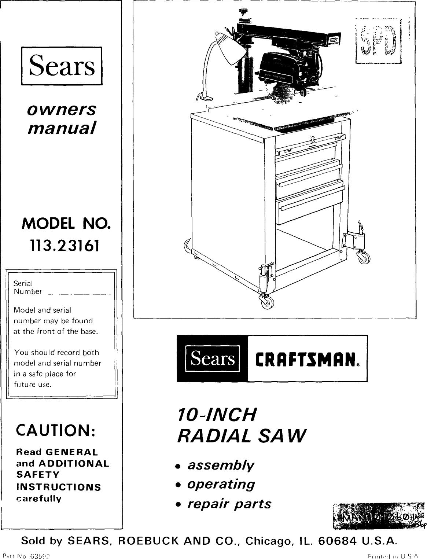 Craftsman 11323161 User Manual 10 INCH RADIAL SAW Manuals