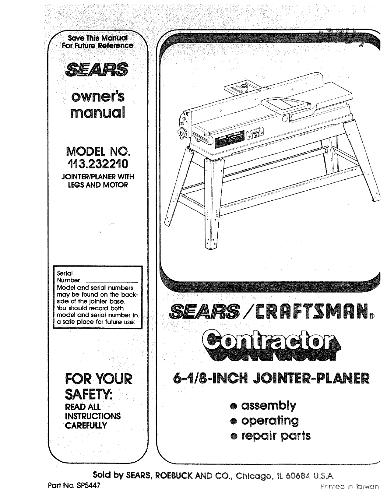 Craftsman 113232210 User Manual Jointer/Planer Manuals And