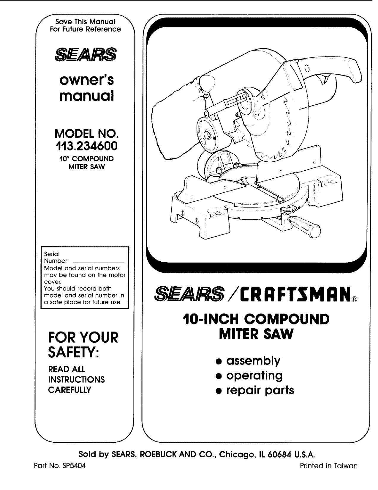 Craftsman 113234600 User Manual MITER SAW Manuals And