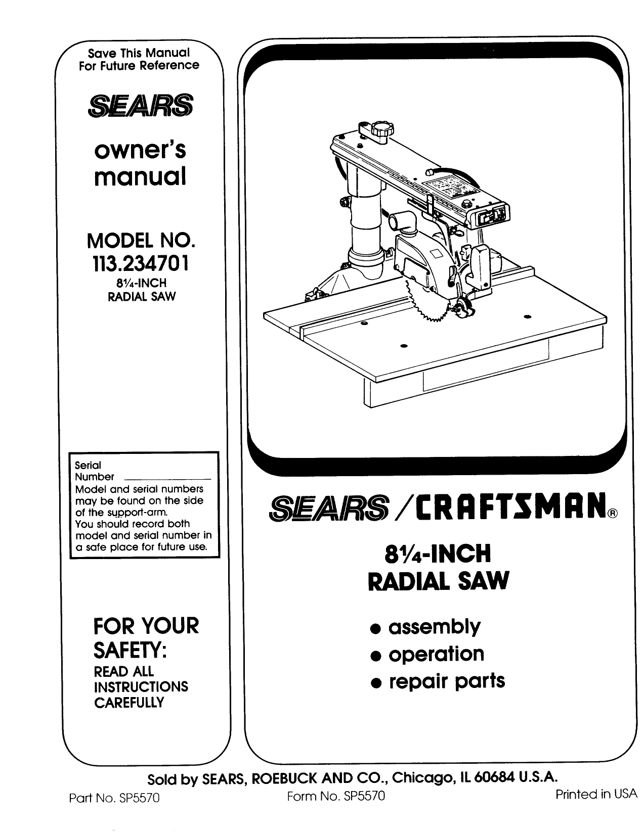 Craftsman 113234701 User Manual RADIAL ARM SAW Manuals And