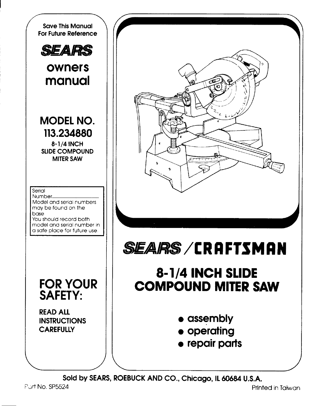Craftsman 113234880 User Manual 8 1/4 COMPOUND MITER SAW