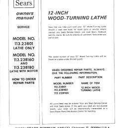 craftsman 11323801 user manual 12 inch wood turning lathe manuals [ 1222 x 1566 Pixel ]