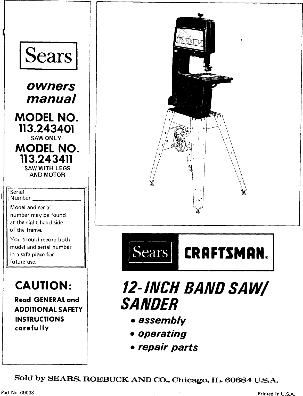 Craftsman 113243401 User Manual 12 INCH BAND SAW Manuals