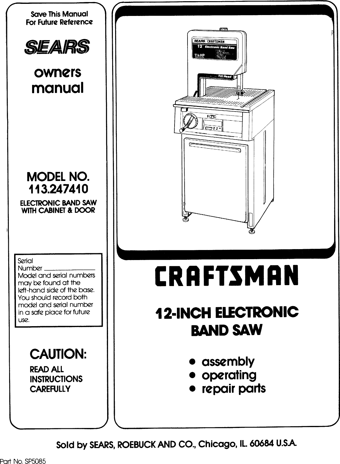 Craftsman 113247410 User Manual 12 INCH ELECTRONIC BAND