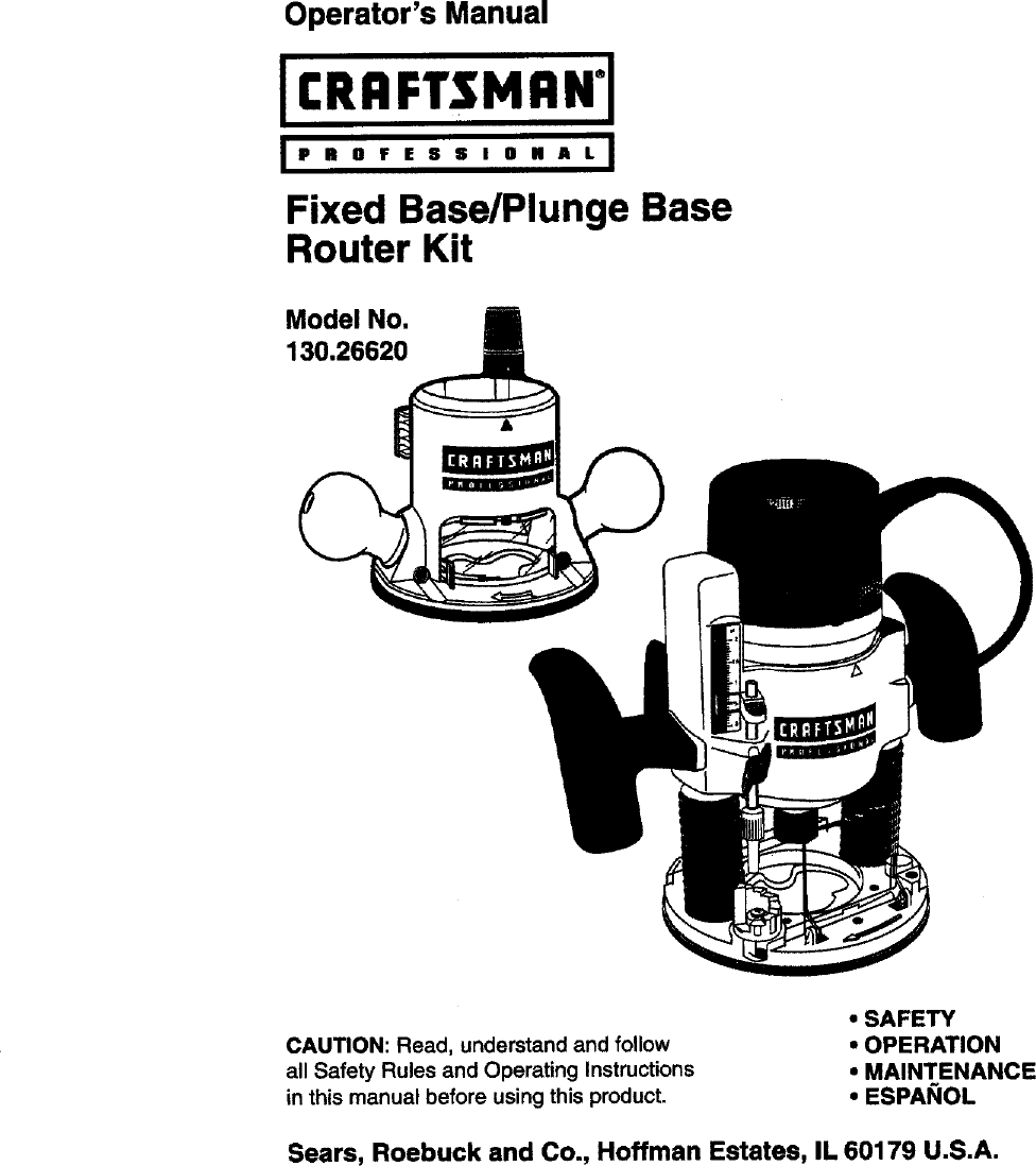 Craftsman 13026620 User Manual ROUTER Manuals And Guides
