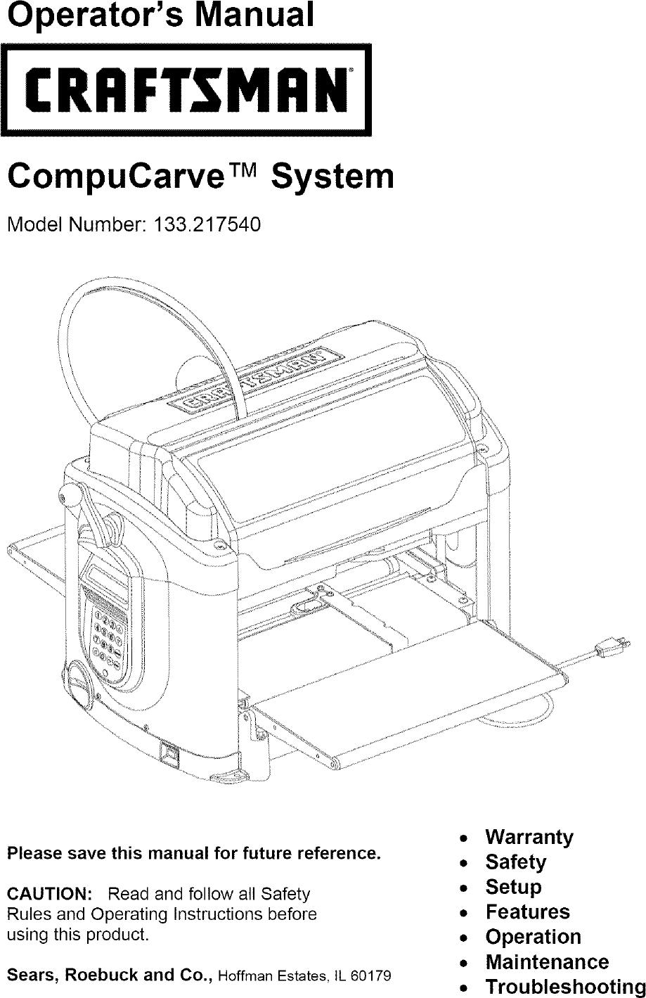 Craftsman 133217540 User Manual COMPUCARVE Manuals And