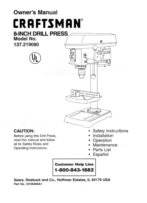 small resolution of craftsman 137219080 user manual 8 drill press manuals and guides l0707388
