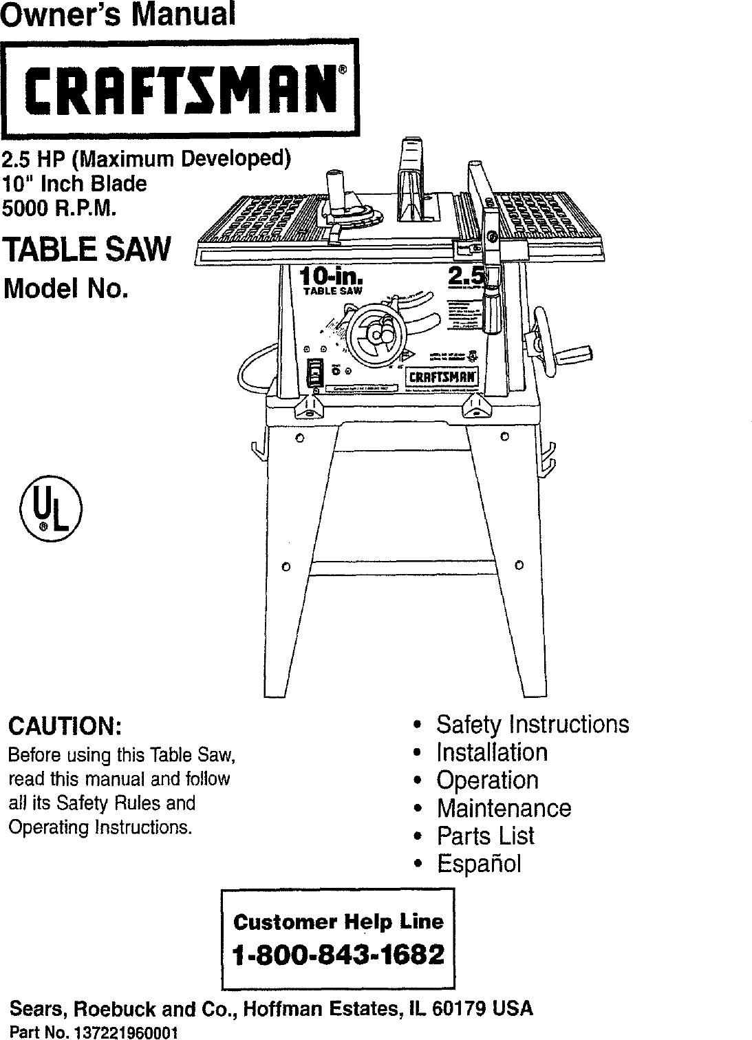 Craftsman 137221960 User Manual TABLE SAW Manuals And