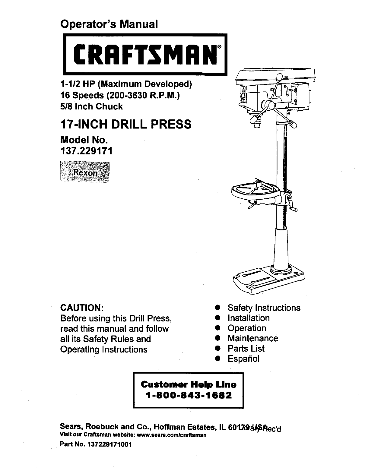 hight resolution of craftsman 137229170 user manual 17 drill press manuals and guides drill press switch wiring diagram craftsman