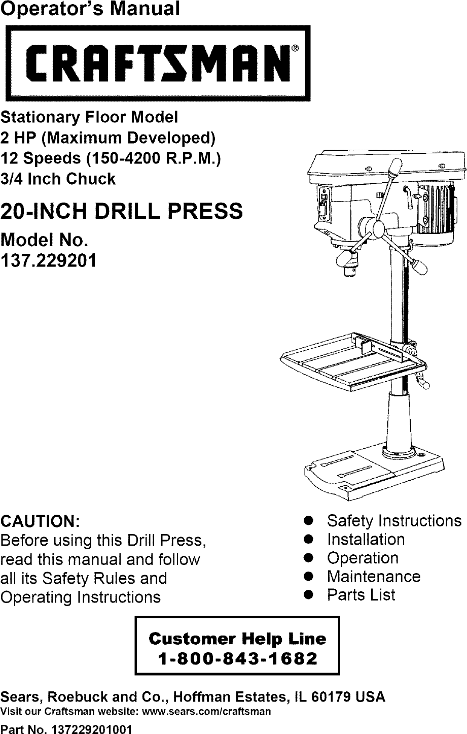 medium resolution of craftsman 137229200 user manual 20 drill press manuals and guides l0803566