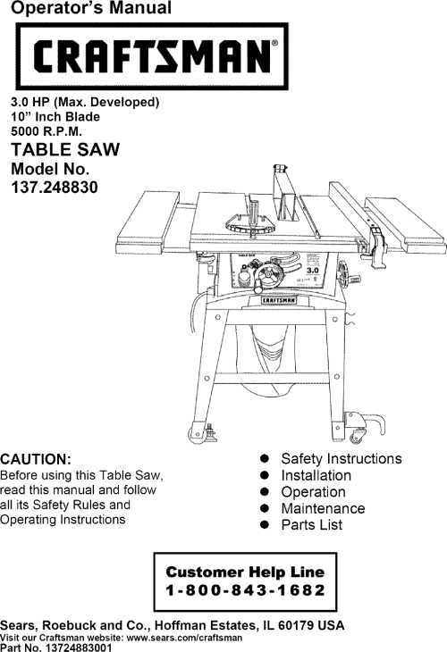 small resolution of craftsman 137248830 user manual 10 table saw manuals and guides l0606545 wiring diagram for craftsman table saw 137 248830