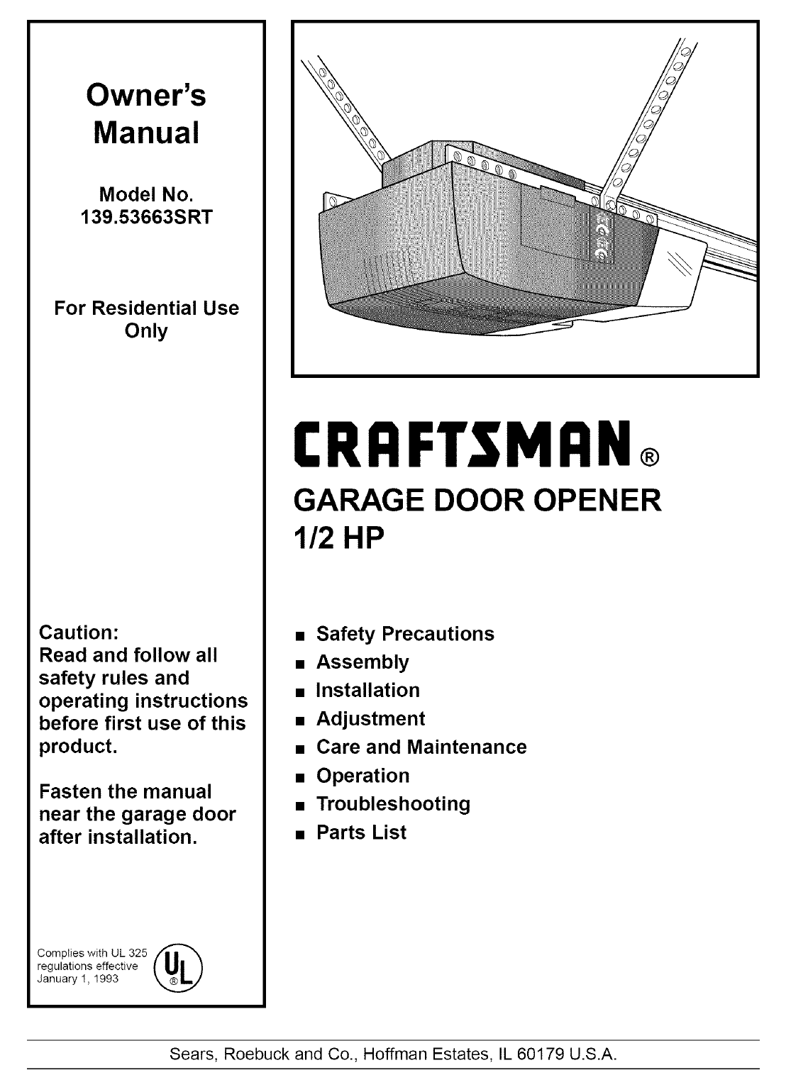 Craftsman 13953663SRT User Manual 1/2 HP GARAGE DOOR OPNER
