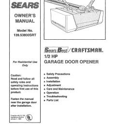 craftsman 13953800srt user manual 1 2 hp garage door opener manuals installation diagram and parts list for craftsman garagedooropener [ 1254 x 1592 Pixel ]