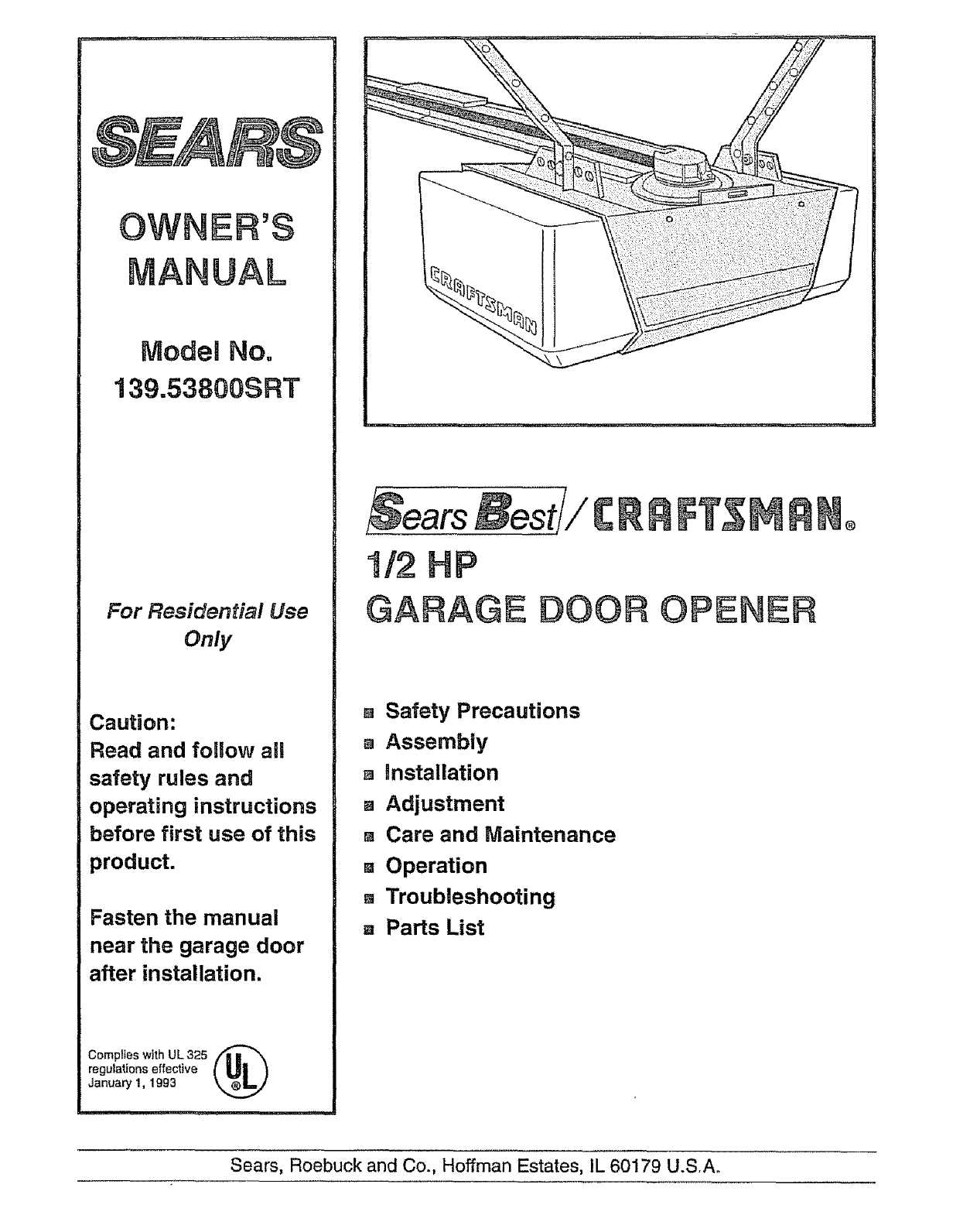 hight resolution of craftsman 13953800srt user manual 1 2 hp garage door opener manuals installation diagram and parts list for craftsman garagedooropener