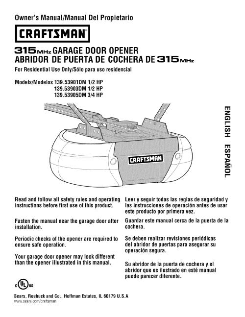 small resolution of craftsman 13953901dm user manual garage door opener manuals and