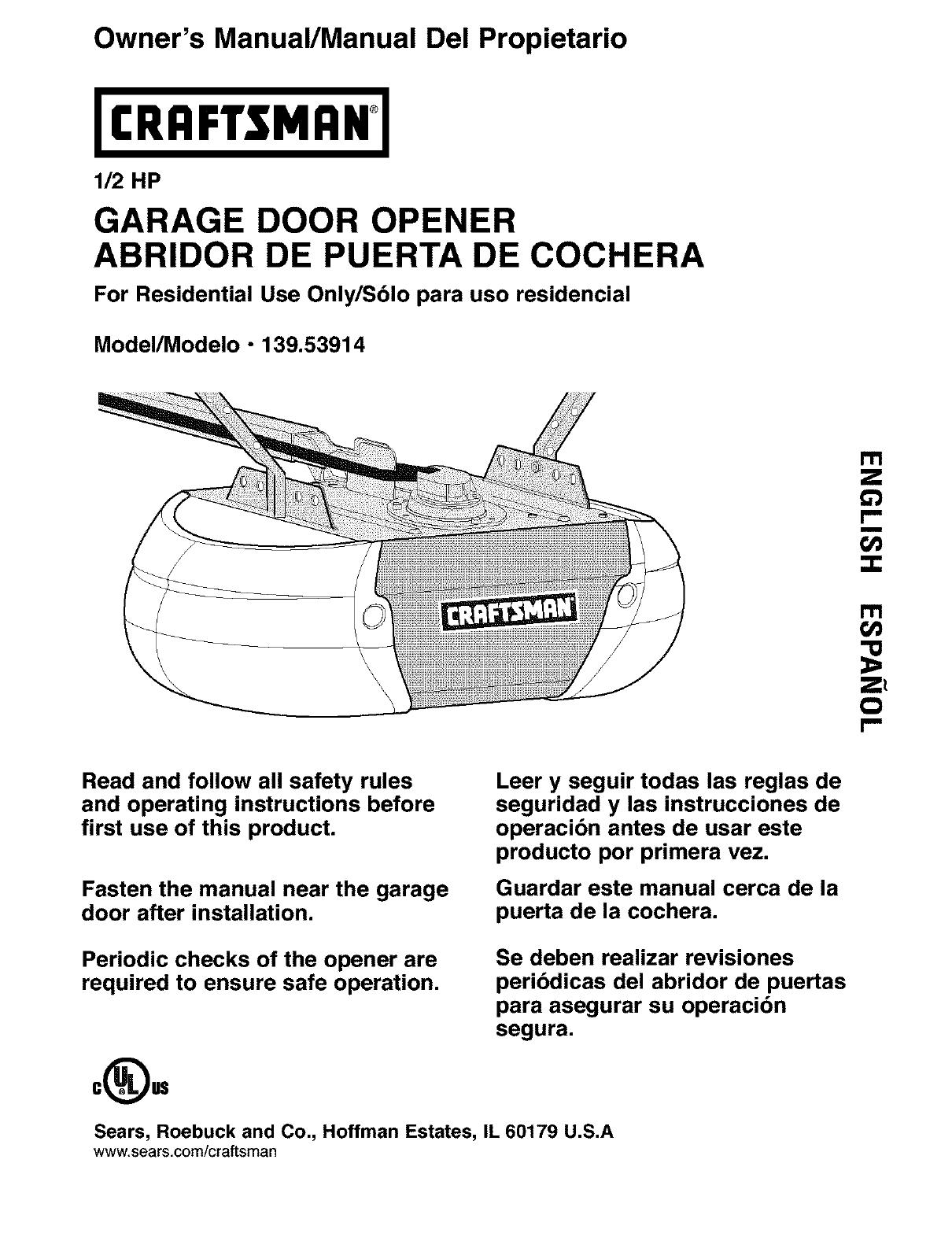 hight resolution of  craftsman 13953914 user manual garage door opener manuals and guides on stanley garage door opener diagram