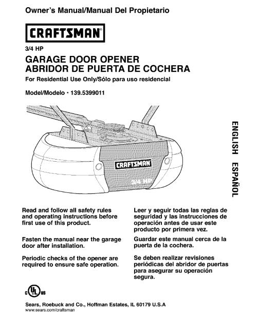 small resolution of owner s manual manual del propietario 3 4 hp garage door opener