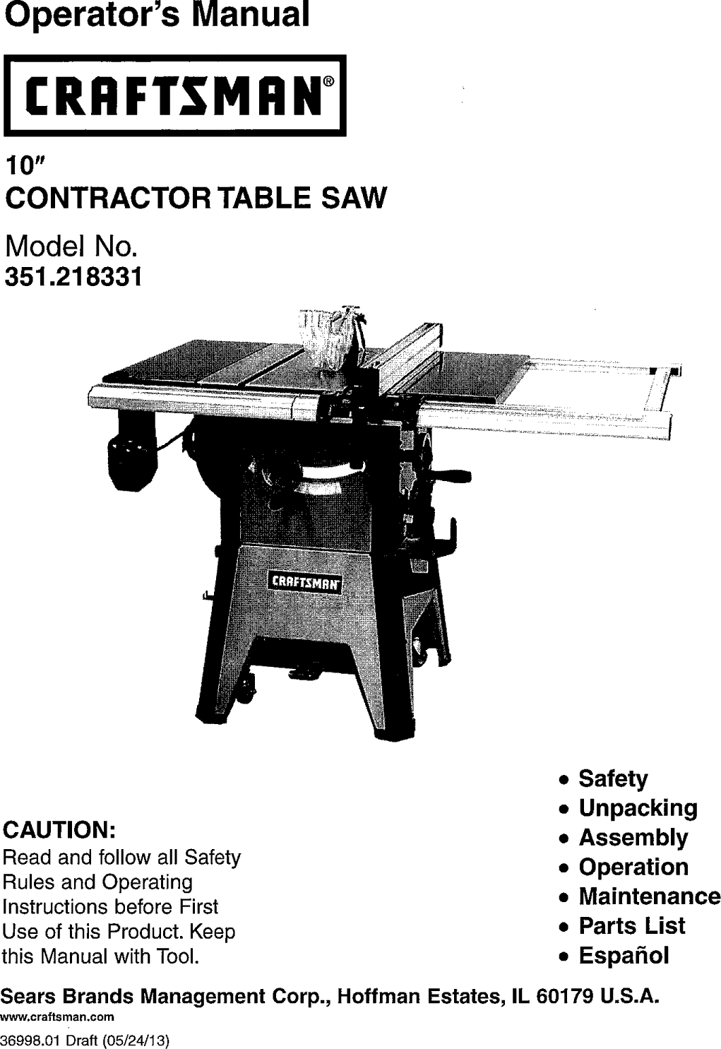 Craftsman 141218331 User Manual SAW TABLE^ Manuals And