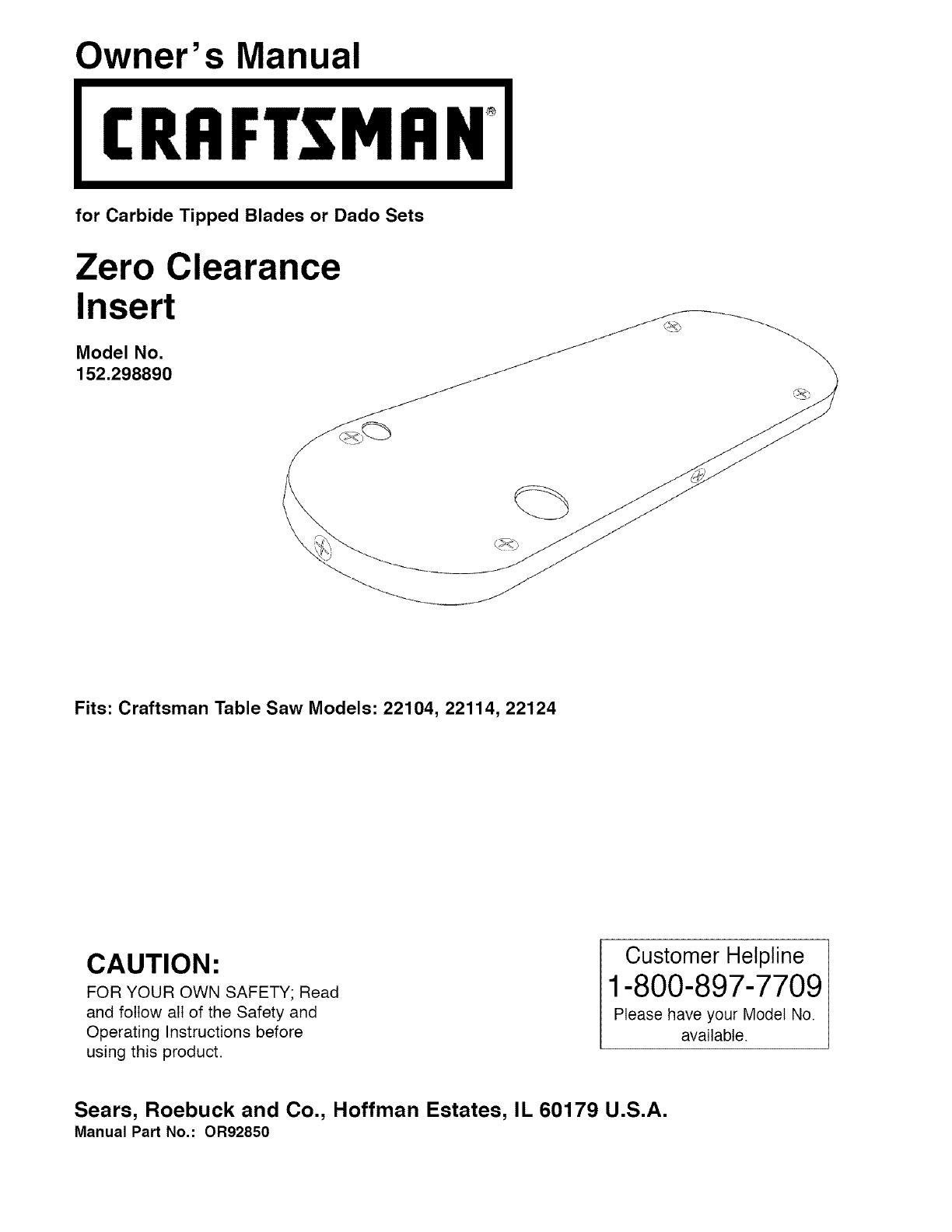 Craftsman 22124 Manual