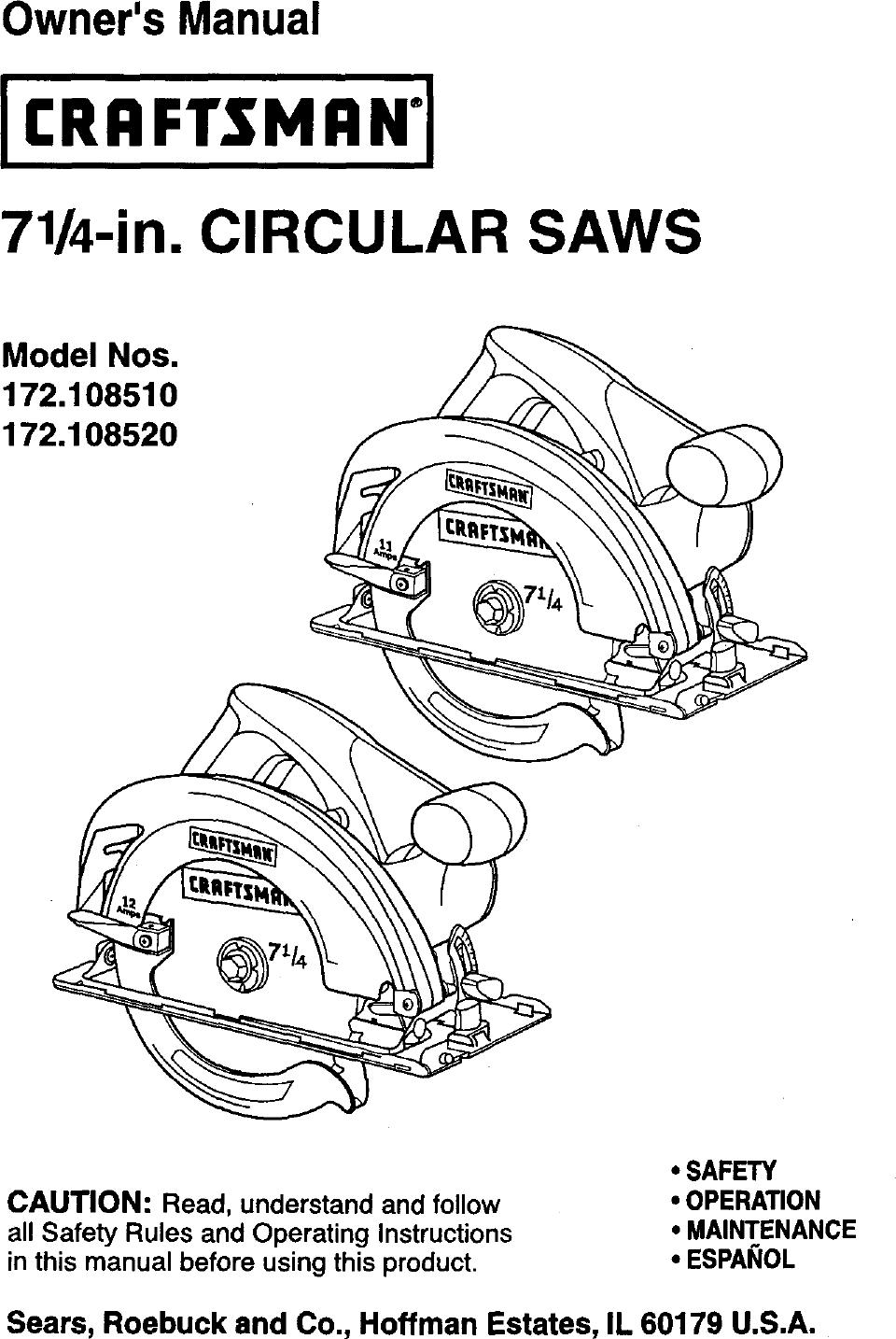 Craftsman 172108510 User Manual CIRCULAR SAW Manuals And