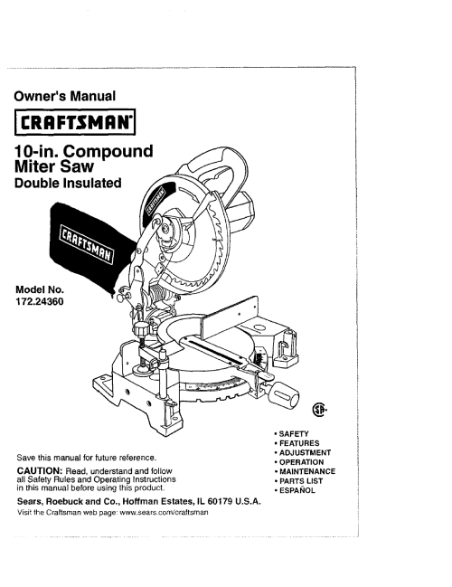 small resolution of craftsman 17224360 user manual 10 compound miter saw manuals and guides l0408143