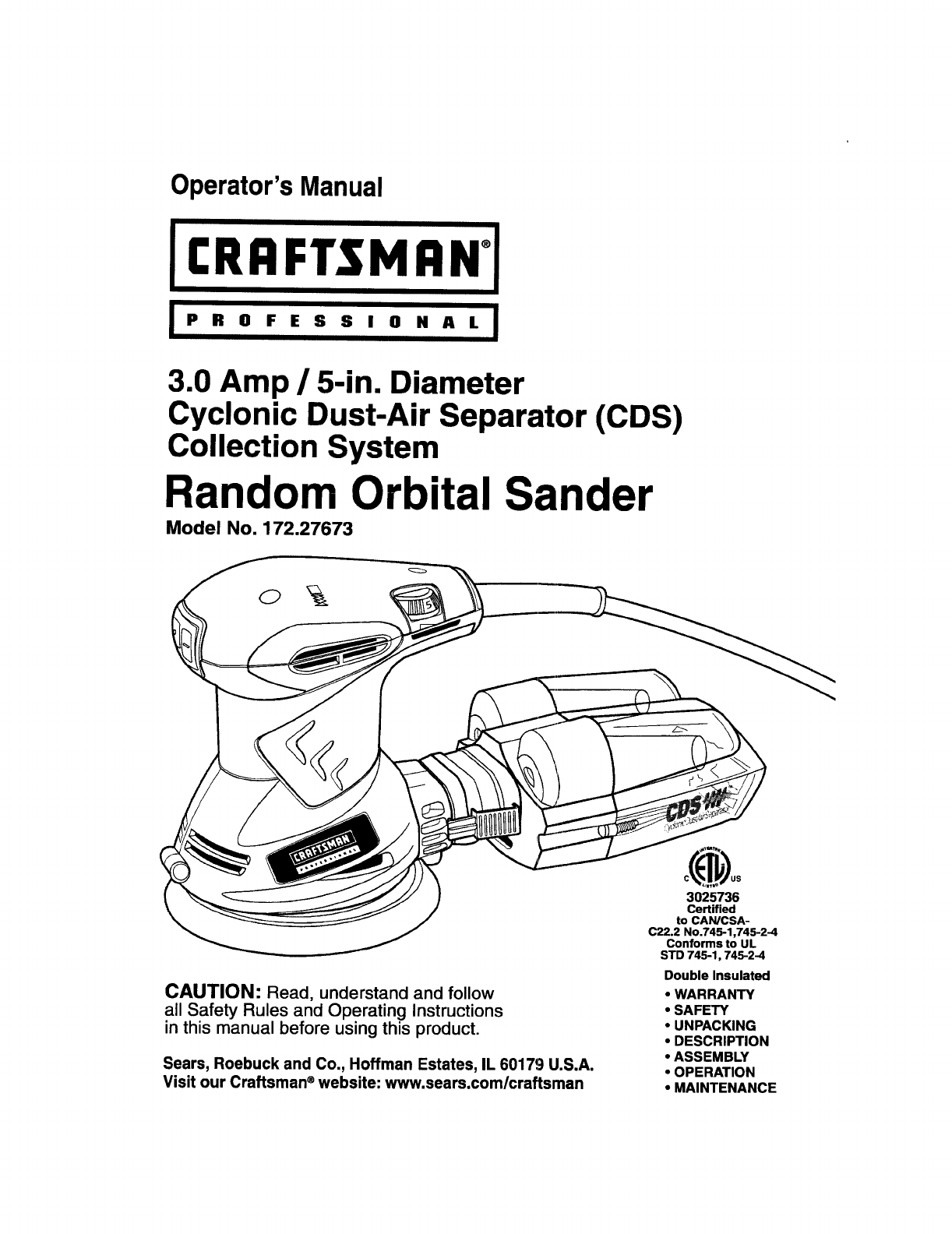 Craftsman 17227673 User Manual SANDER Manuals And Guides
