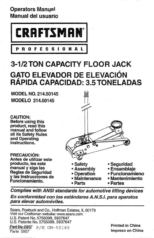 Craftsman Floor Jack Parts : craftsman, floor, parts, Craftsman, 21450145, Manual, FLOOR, Manuals, Guides, L0807582