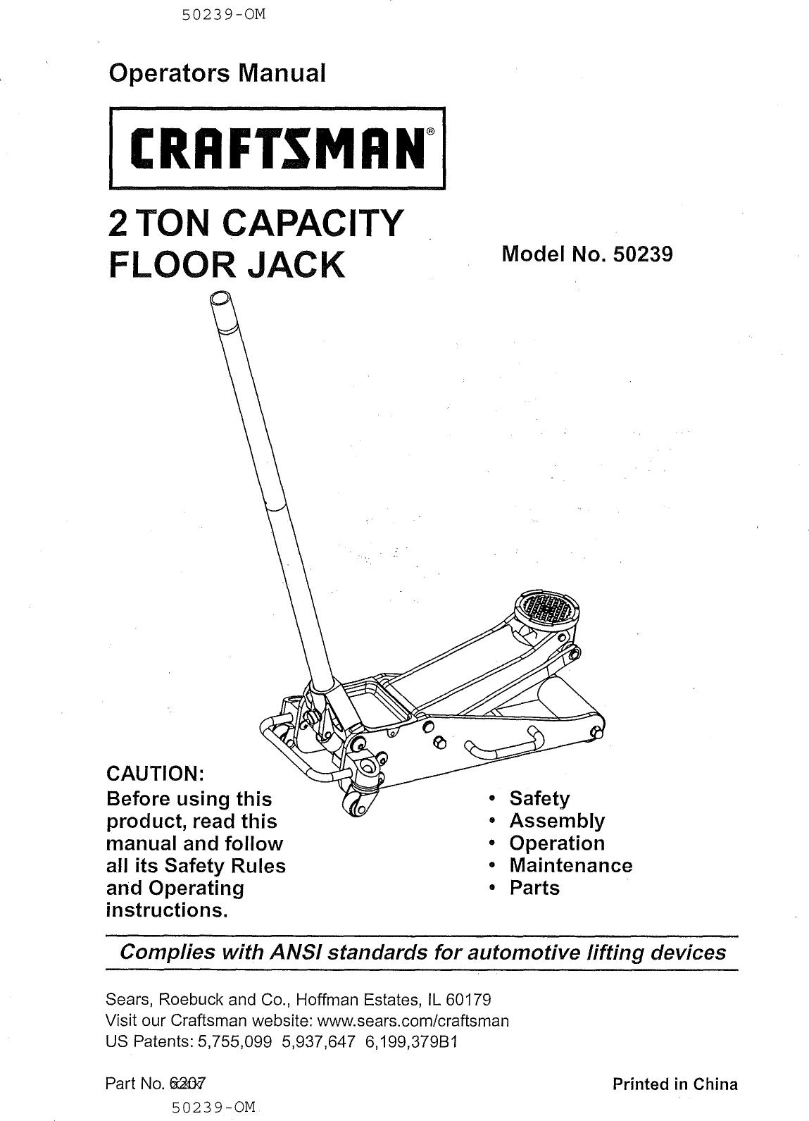 Craftsman Floor Jack Parts : craftsman, floor, parts, Craftsman, 21450239, 1101351L, Manual, FLOOR, Manuals, Guides