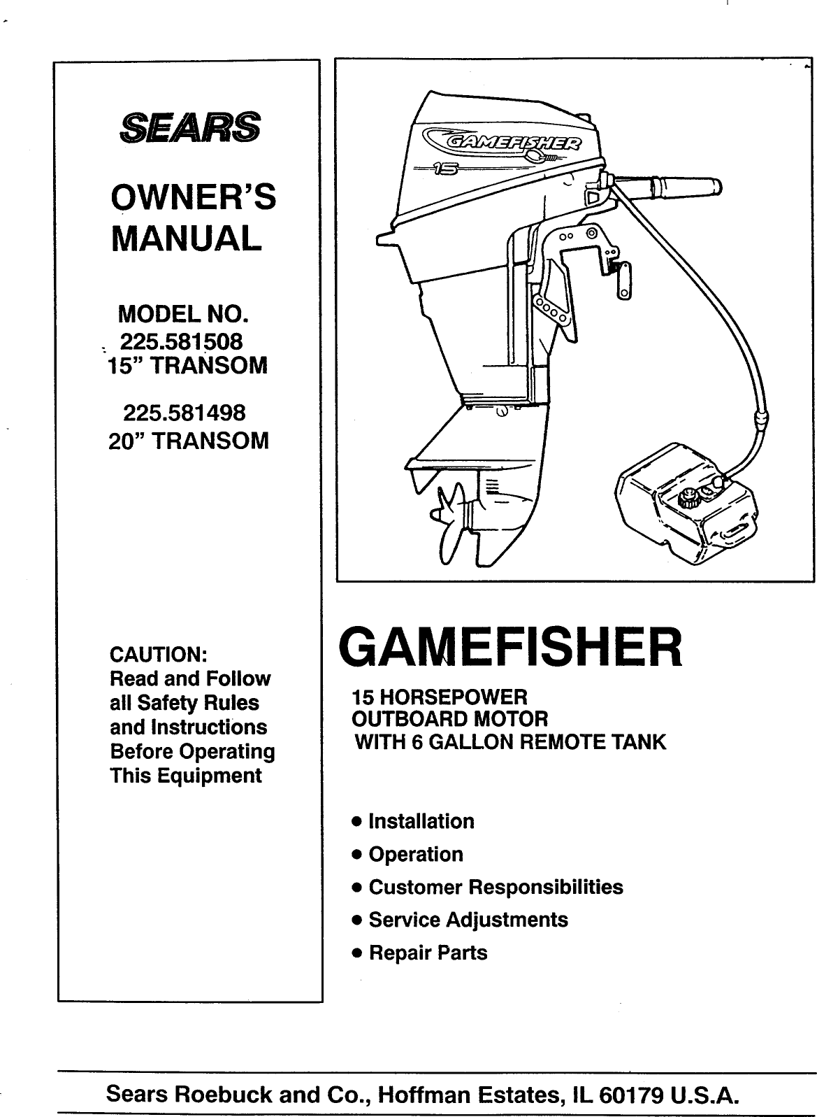 Craftsman 225581498 User Manual GAMEFISHER 15 H.P. 20