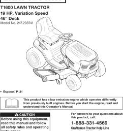 craftsman riding mower 46 deck diagram [ 1053 x 1438 Pixel ]