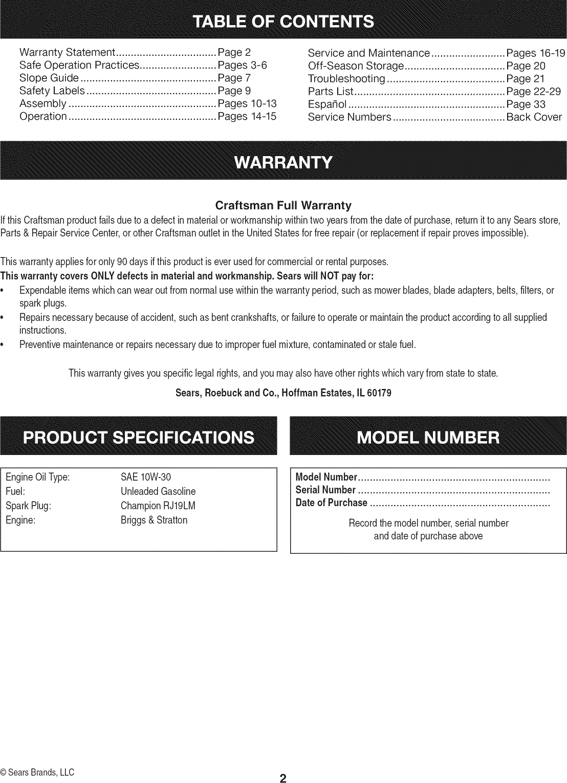 Craftsman Product Manuals