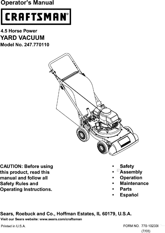 Craftsman 247770110 User Manual YARD VACUUM Manuals And