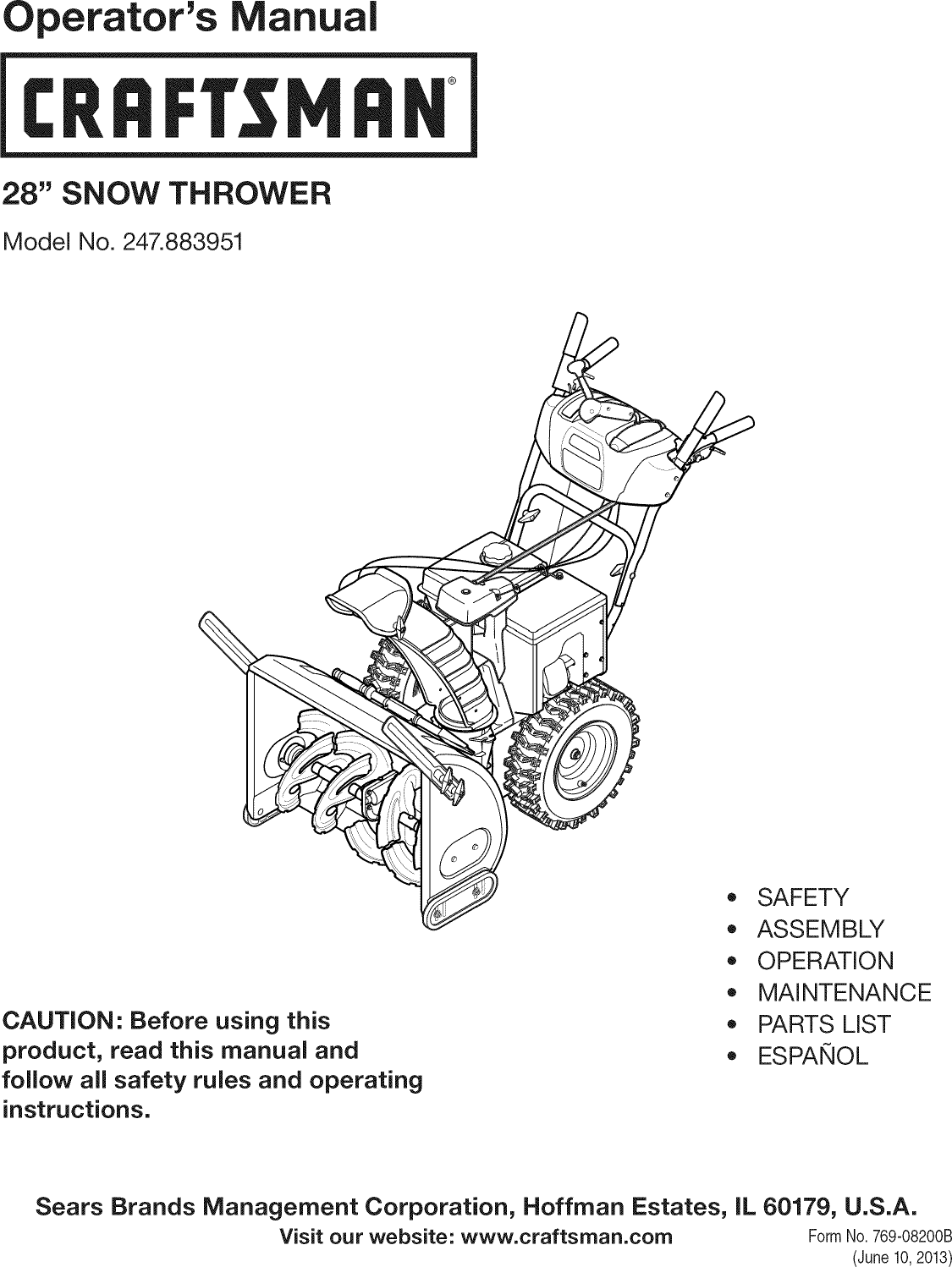 Craftsman 247883951 User Manual SNOW THROWER Manuals And