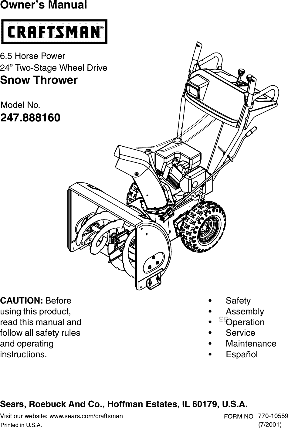 Craftsman 247888160 User Manual SNOW THROWER Manuals And