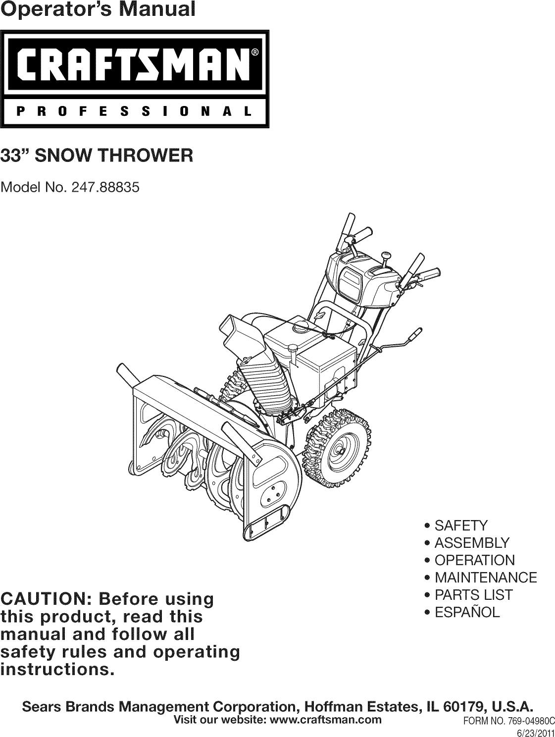 Operator u0026apos s manualp r 0 f e s s i 0 n a l33 u0026quot snow throwermodel no 247 88835