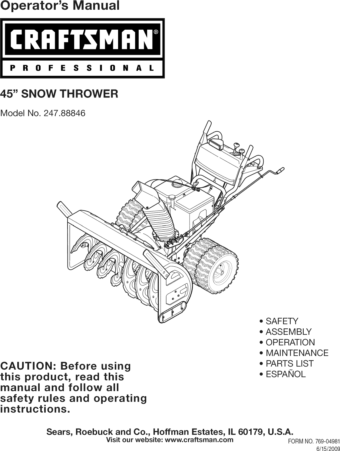 Craftsman 24788846 User Manual SNOW THROWER Manuals And